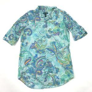 LRL Ralph Lauren Tunic Blouse Button Front 3/4